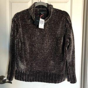 Cynthia rowley brown plush velour -ish sweater